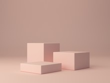 Pink Shapes On Pastel Colors A...