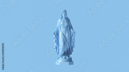 Photo Pale Blue Virgin Mary Mother of Jesus Statue 3d illustration 3d render