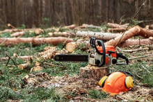 Professional Chainsaw Close Up, Logging. Cutting Down Trees, Forest Destruction. The Concept Of Industrial Destruction Of Trees, Causing Harm To The Environment.