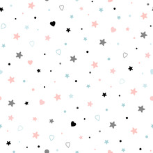 Seamless Cute Baby Pattern With Stars Hearts Kids Texture Fabric Wallpaper Background Vector Illustration