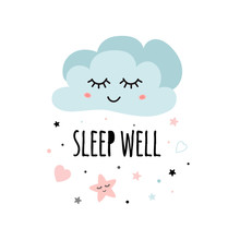 Cute Light Pink Cartoon Cloud Wish Text Sleep Well For Baby Poster Decor For Kids Room