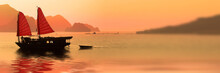 Junk Boat At Sunset In Halong ...
