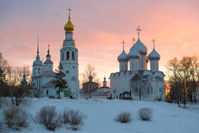 March Sunset In Old Vologda. Russia