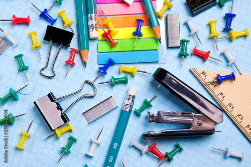 Fotomural  School and office supplies on the desktop