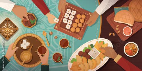 Ramadan celebration with traditional Iftar meal Fototapeta