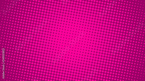 Photo  Bright pink and magenta retro pop art background with dots