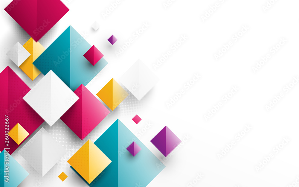 Fototapeta Abstract colorful rectangles 3D repeating on white background
