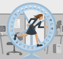 A Stressed And Tired Looking Businesswoman In An Office Running As Fast As She Can In Hamster Wheel To Keep Up With Her Workload Or Compete. Business Concept Illustration In Flat Modern Cartoon Style