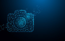 Camera Icon From Lines, Triangles And Particle Style Design. Illustration Vector