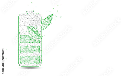 Obraz Green battery and plant form lines and triangles, point connecting network background. Ecology concept - fototapety do salonu