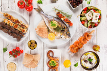 Greek Food Background. Traditional Different Greek Dishes , Top View.