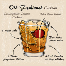 Vector Illustration Of Alcoholic Cocktail Old Fashioned Sketch