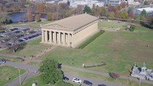 Wide Shot Of Centennial Park With Parthenon Building In Background, Aerial View 4k