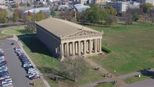 Historic Parthenon Building In Nashville City Park, Slow Aerial Pan Rising As Tourists Enjoy Beautiful Day