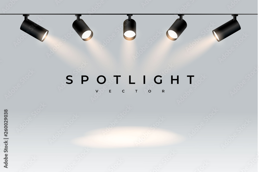 Fototapety, obrazy: Five modern black spotlights shine in one direction realistic transparent background for show contest or interview.Illuminated effect form projector, projector for studio.