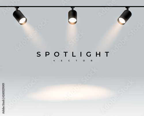 Recess Fitting Light, shadow Three modern spotlights realistic transparent background for show contest or interview.Illuminated effect form projector, projector for studio. Minimalistic lamp. Place. vector illustration eps 10