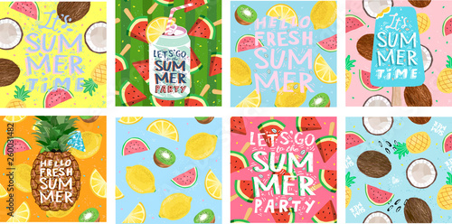 Foto auf Leinwand Pop Art Hello summer! Posters for a fun club party. Set of cute vector illustrations of ice cream, tropical fruits, soda, pineapple, lemon, coconut, watermelon, cocktail for background, card, cover or banner.