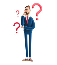 3d Illustration. Businessman Billy Looking For A Solution