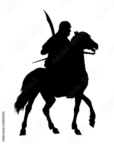 Canvas Print Mounted germanic knight, Teutonic knight illustration