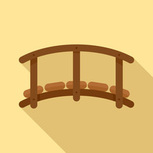 Small Wood Bridge Icon. Flat I...