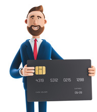 3d Illustration. Businessman Billy With Black Credit Card.
