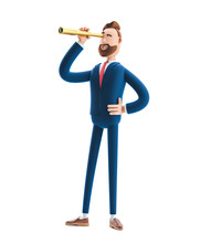 3d Illustration. Businessman Billy  Looking In Future With Spyglass .