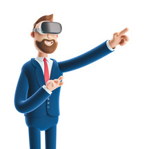 3d Illustration. Businessman Billy Using Virtual Reality Glasses And Touching Vr Interface.