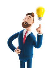 3d Illustration. Businessman Billy With Yellow Bulb. Innovation And Inspiration Concept.