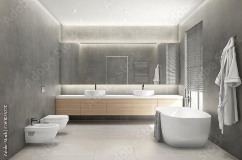 Fotografia  3d rendering of a modern grey concrete bathroom