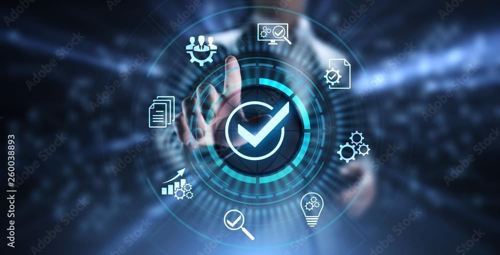 Fototapeta Standards quality Assurance control standardisation and certification concept.
