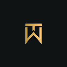 TW Or WT Logo Vector. Initial Letter Logo, Golden Text On Black Background
