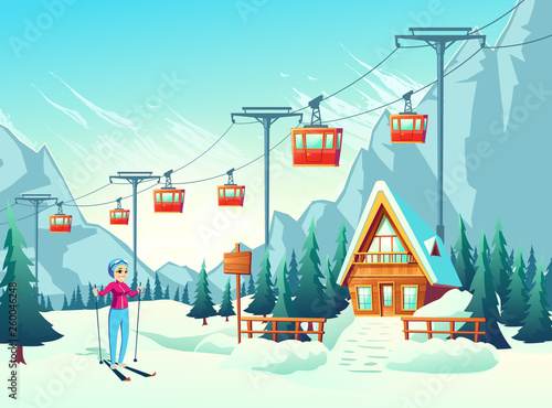 Foto auf Gartenposter Turkis Winter vacation, active weekend leisure in mountain resort cartoon vector concept with happy smiling female tourist, woman skiing in snowy slope with cableway and small hotel or chalet illustration