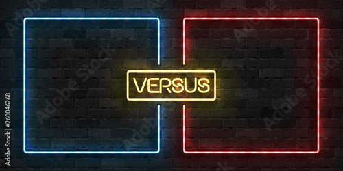 Obraz na plátně Vector realistic isolated neon sign of Versus frames logo for template decoration and covering on the wall background