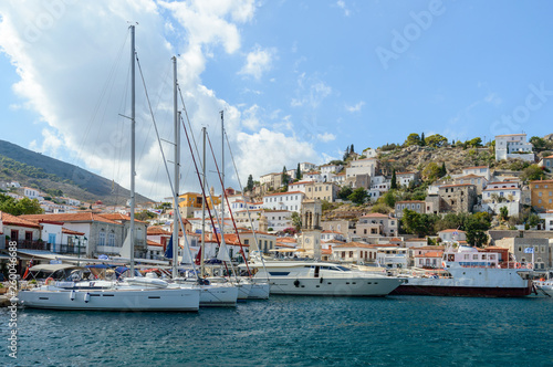 Photo Stands Ship View of Hydra old town and port, Greece