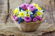 Spring Flowers Bouquet In A Ba...