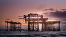 West Pier Relic At Sunset , Br...
