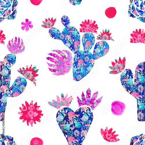 Cadres-photo bureau Aquarelle la Nature Seamless pattern Hand-painted set of decorative cactus in fantasy style Set of flowering plants, cactus blue coral color