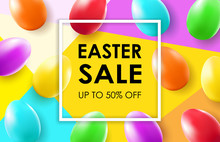 Easter Sale Banner With Colorful Egg.