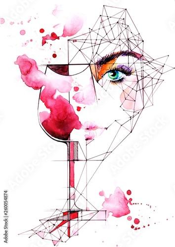 Deurstickers Schilderingen wine