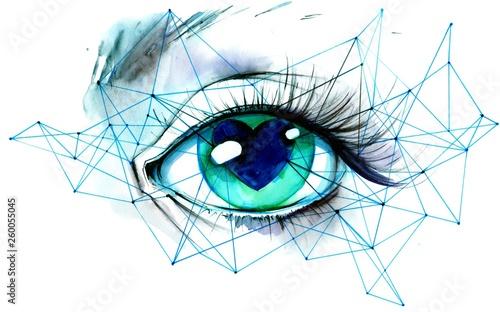 Deurstickers Schilderingen eye