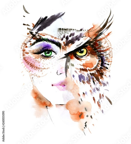 Deurstickers Schilderingen woman - bird