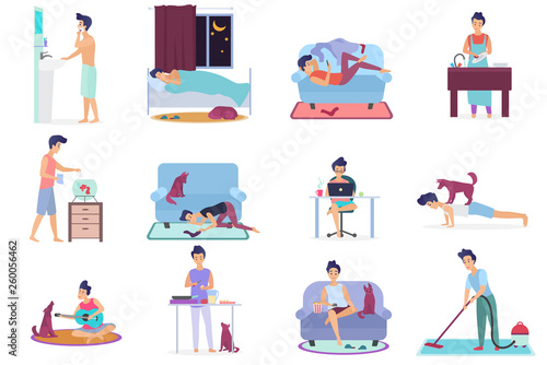 Daily life, everyday routine scenes of young man Wallpaper Mural