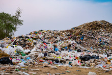 Mountain Large Garbage Pile And Pollution,Pile Of Stink And Toxic Residue,These Garbage Come From Urban And Industrial Areas Can Not Get Rid Of, Consumer Society Cause Massive Waste .