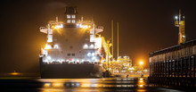 LNG Oil Tanker When Supplying Liquefied Gas To The Lng Terminal