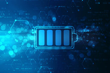 Battery Icon In Digital Background, Battery Supply Concept Background, Energy Efficiency Concept