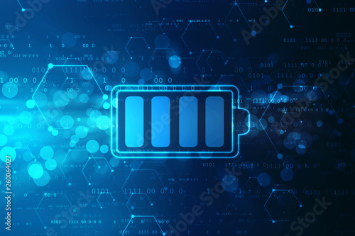 Obraz Battery Icon in digital background, battery Supply Concept Background, Energy Efficiency Concept - fototapety do salonu