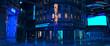 Leinwanddruck Bild - Photorealistic 3d illustration of the futuristic city in the style of cyberpunk. Empty street with neon lights. Beautiful night cityscape.