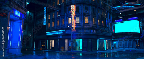 Fototapeta Photorealistic 3d illustration of the futuristic city in the style of cyberpunk. Empty street with neon lights. Beautiful night cityscape.