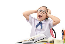Little Girl Student Stressed B...