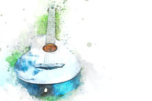 Abstract Acoustic Guitar On Green Grass On Watercolor Illustration Painting Background.